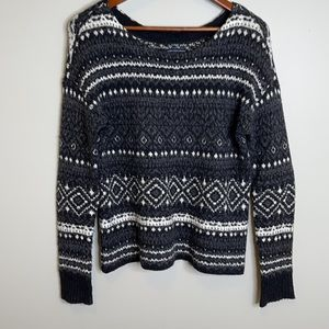 American Eagle grey mix baggy oversized Nordic pattern cotton blend sweater XS
